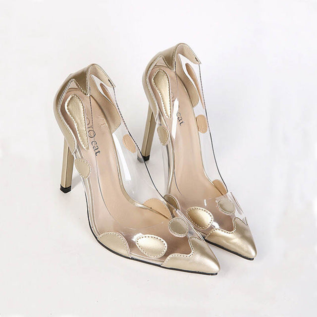 71981c00b00a0 GLENMEARL - Pointed Toe Womens Fashion Negative Space Pumps  – Mix ...