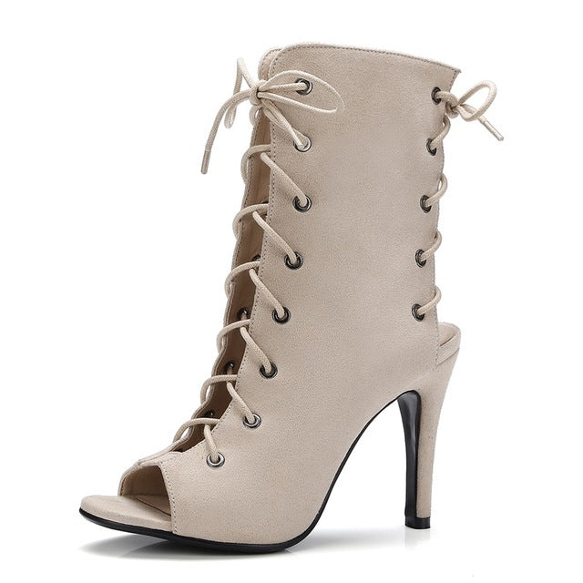 ccad889f6fd ASUMER - High Quality Denim Summer Peep Toe Lace Up Exposed Ankle Boots