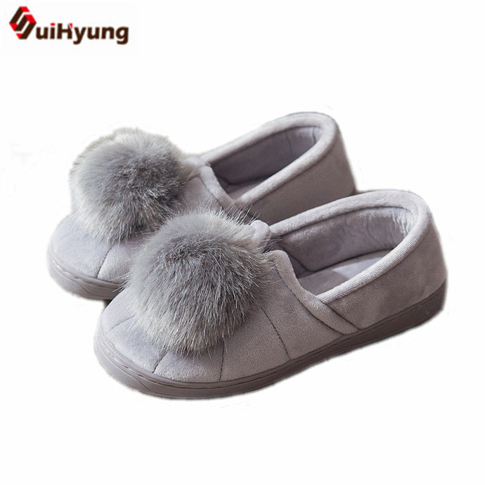 f442e3bb570139 SUIHYUNG - Winter Women s Thermal House Shoes With Plush Pom Pom