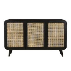 Sideboard Black Wood and Cane
