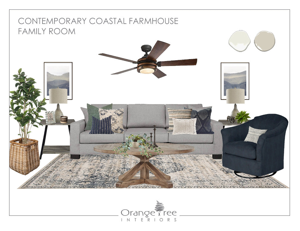 Contemporary Coastal Farmhouse Family Room