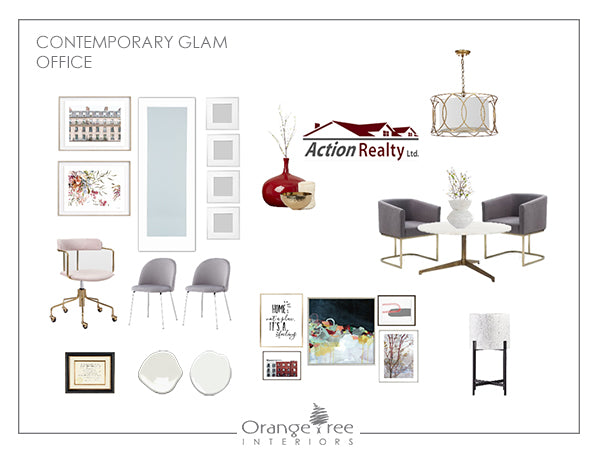 Contemporary Glam Office Design Concept