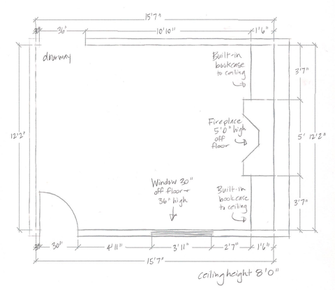Client submitted floor plan sketch - Online Interior Decorating by Orangetree Interiors
