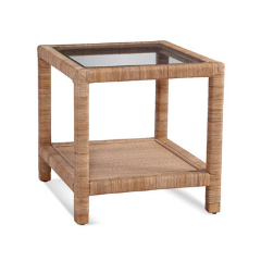 Glass and Natural Side Table