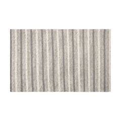 Grey and White Striped Area Rug