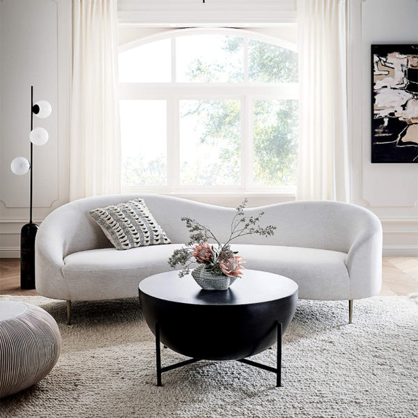 Rounded sofa in living room