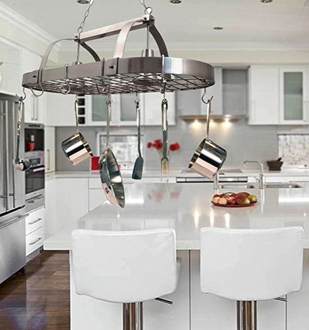 make small kitchen bigger using a pot rack