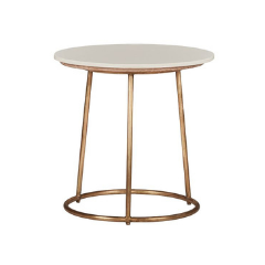 Round White and Metal Side Table
