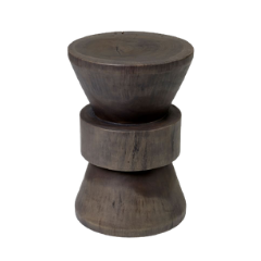 Round Wood Pedestal Side Table