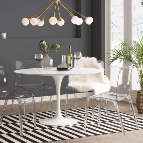 dining room with striped rug