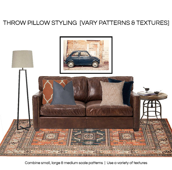 How to style throw pillows 2019 - vary texture and pattern