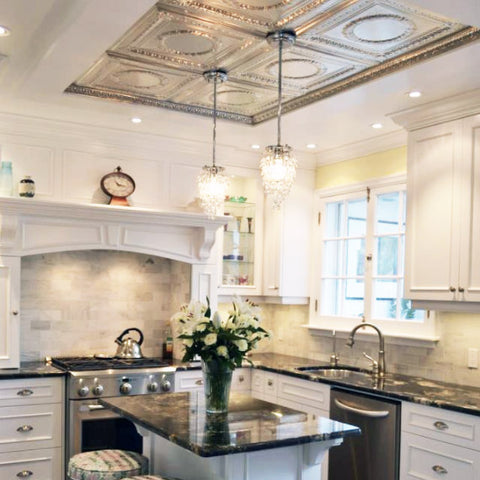 luxury kitchen with tin ceiling