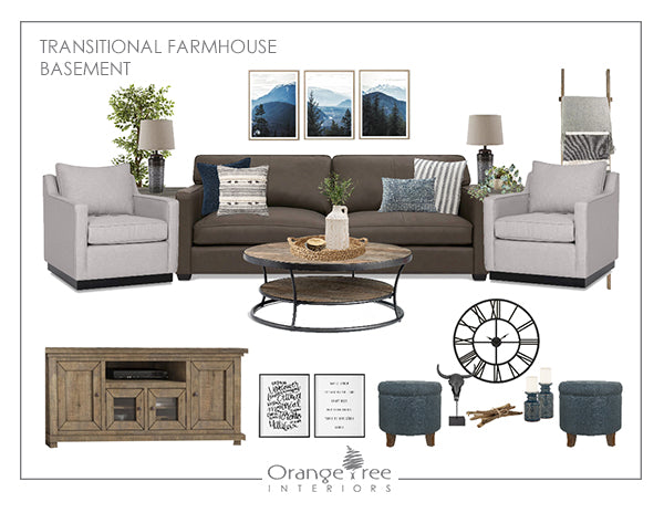 Transitional Farmhouse Living Room Basement