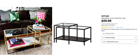 gold painted nesting tables