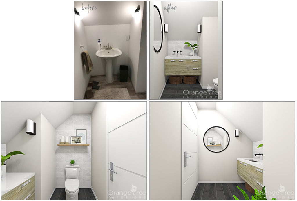 eDesign of a modern coastal powder room