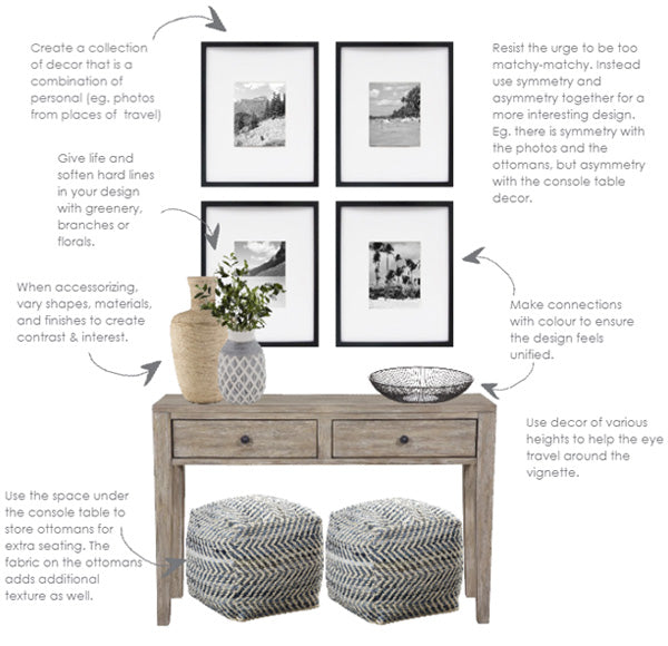 how to style a console table - contemporary coastal