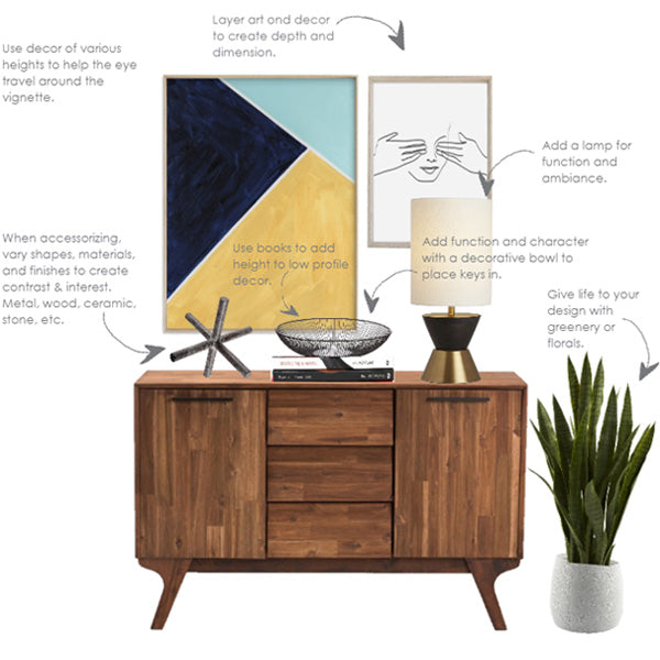 styling a console table - midcentury modern