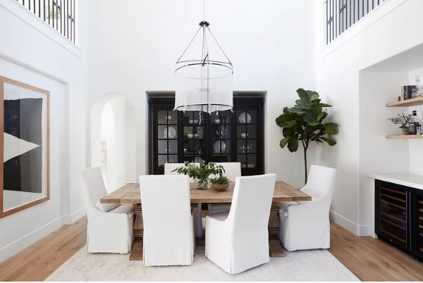 Mixing wood tones with black 2021 Dining Room