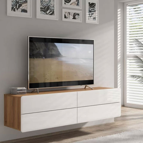 floating media cabinet with TV