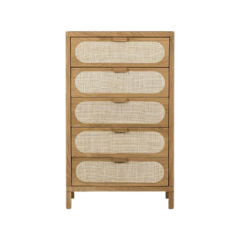 dresser tall natural wood and cane