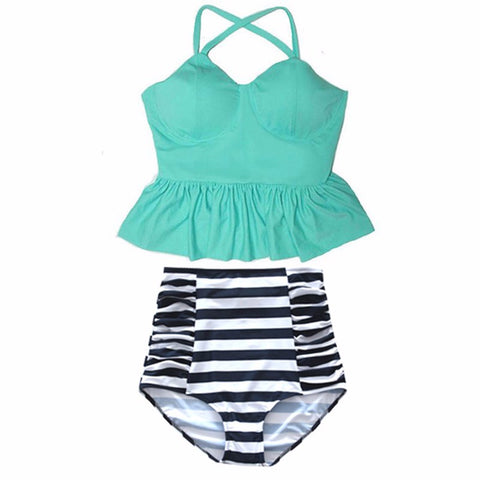 Sunny Peplum Top High Waisted Bikini, High Waisted Peplum Top Bikini Swimsuit - Tropic Dreams