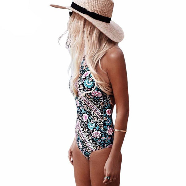 Beverly Halter One Piece Swimsuit, One Piece Halter Swimsuit - Tropic Dreams