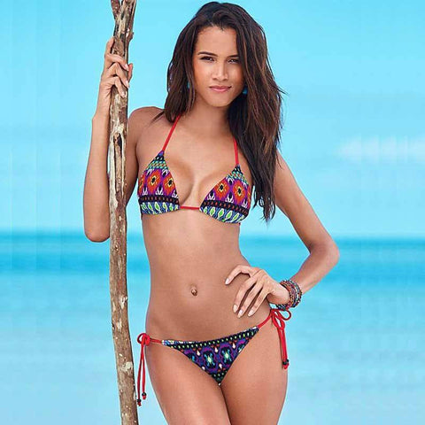 Selena Triangle Brazilian String Bikini, Sexy String Brazilian Bikini Swimsuit - Tropic Dreams