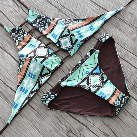 Jessie High Neck Cutout Top Print Bikini, High Neck Cutout Top Bikini Swimsuit - Tropic Dreams