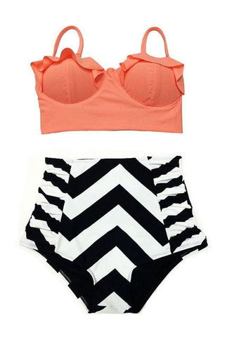 Brianna Bustier High Waisted Bikini, High Waisted Bustier Bikini Swimsuit - Tropic Dreams