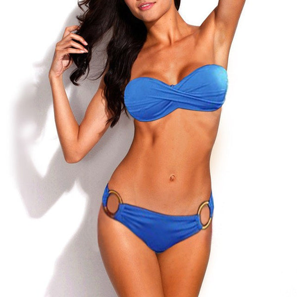 Amanda Bandeau Push up Bra Bikini Swimsuit, Bandeau Push Up Bikini Swimsuit - Tropic Dreams