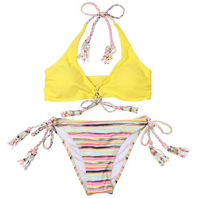 Jessa Tassel Adjustable String Bikini, Sexy Tassel Bikini Swimsuit - Tropic Dreams
