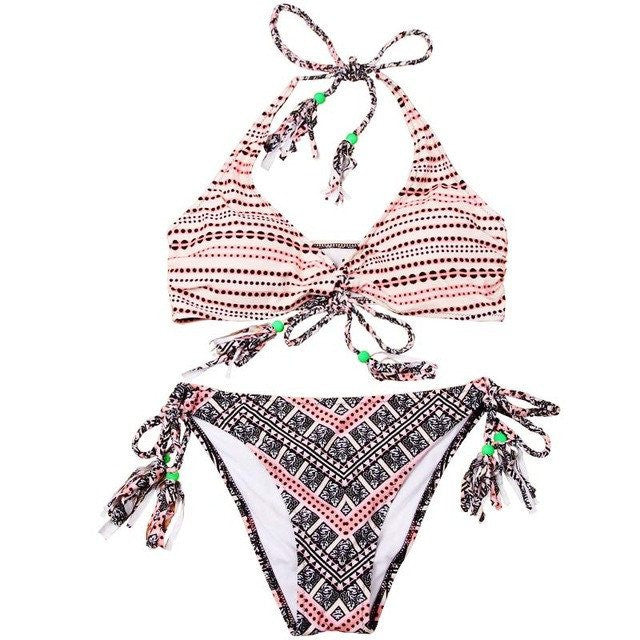 Kristen Tassel Adjustable String Bikini, Sexy Tassel Bikini Swimsuit - Tropic Dreams