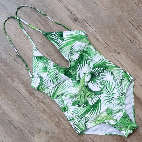Georgia Plunging One Piece Swimsuit, One Piece Plunging Neckline Swimsuit - Tropic Dreams