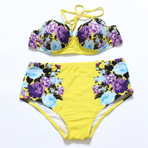 Zinnia Pushup High Waisted Bikini, High Waisted Bikini Swimsuit - Tropic Dreams