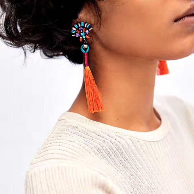 Charlize Red Orange Tassel Earrings, Tassel Earrings - Tropic Dreams