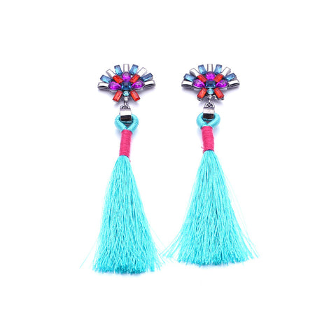 Charlize Aqua Tassel Earrings, Tassel Earrings - Tropic Dreams
