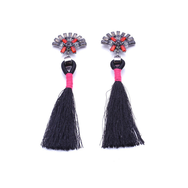 Charlize Black Tassel Earrings, Tassel Earrings - Tropic Dreams