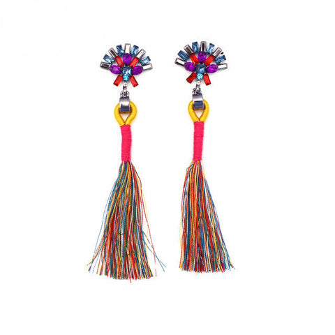 Charlize Multicolored Tassel Earrings, Tassel Earrings - Tropic Dreams