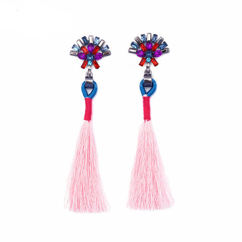 Charlize Pink Tassel Earrings, Tassel Earrings - Tropic Dreams