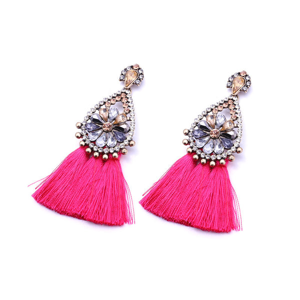 Sophia Pink Tassel Earrings, Tassel Earrings - Tropic Dreams