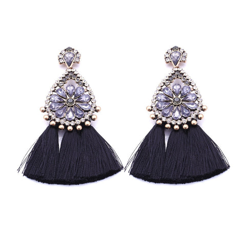 Sophia Black Tassel Earrings, Tassel Earrings - Tropic Dreams