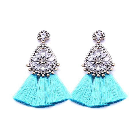 Sophia Aqua Tassel Earrings, Tassel Earrings - Tropic Dreams