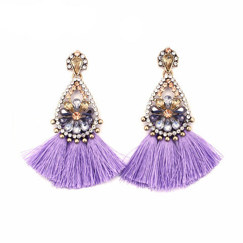 Sophia Lavender Tassel Earrings, Tassel Earrings - Tropic Dreams