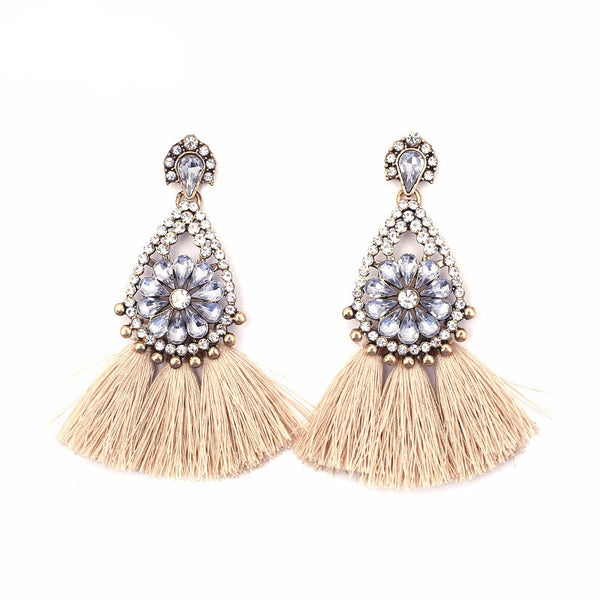 Sophia Beige Tassel Earrings, Tassel Earrings - Tropic Dreams