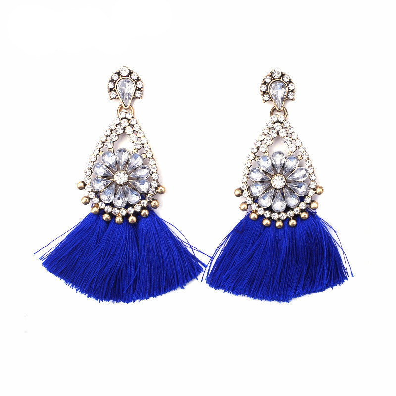 Sophia Royal Blue Tassel Earrings, Tassel Earrings - Tropic Dreams