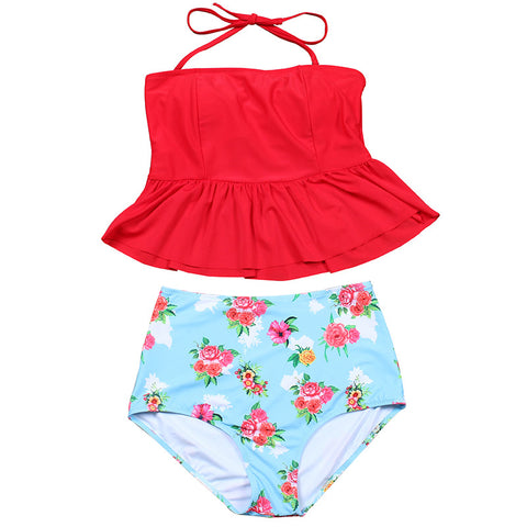 Amabel Peplum Top High Waisted Bikini, High Waisted Bikini Swimsuit - Tropic Dreams