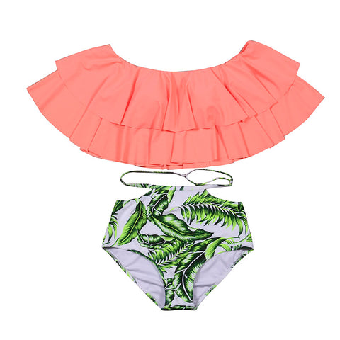 Lanika Ruffle Off Shoulder High Waist Bikini, High Waisted Ruffle Off Shoulder Top Bikini Swimsuit - Tropic Dreams