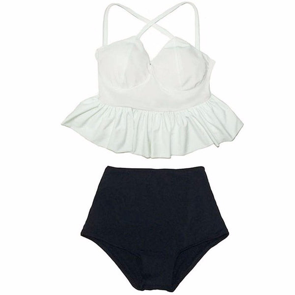 Shelly Peplum Top High Waisted Bikini, High Waisted Peplum Top Bikini Swimsuit - Tropic Dreams