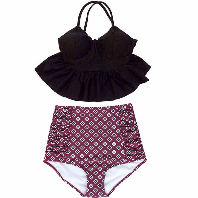 Layne Peplum Top High Waisted Bikini, High Waisted Peplum Top Bikini Swimsuit - Tropic Dreams