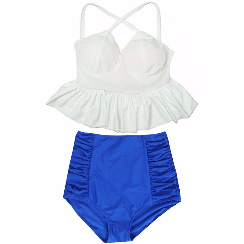 Alana Peplum Top High Waisted Bikini, High Waisted Peplum Top Bikini Swimsuit - Tropic Dreams